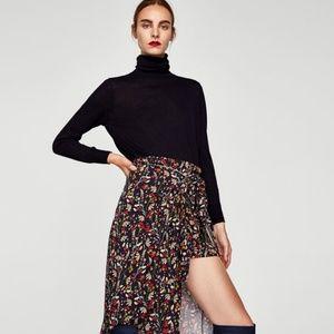 Zara Floral Printed Midi Slit Skort Skirt